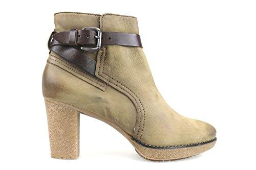 scarpe donna MANAS DESIGN 40 stivaletti pelle scamosciata beige marrone AM736