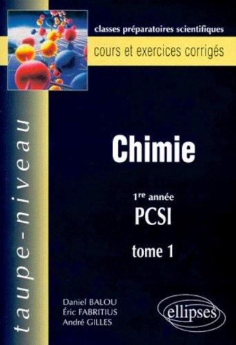 Chimie: 1re année PCSI