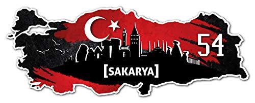 Aufkleber Sticker Türkei 54 Sakarya Motiv Fahne für Auto Motorrad Laptop Fahrrad