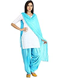 Funfabrics Women Cotton Solid Full Free Size Light Blue Plain Patiala Salwar Dupatta Set Cotton Patiala Dupatta