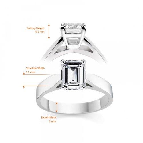 Diamond Manufacturers, Damen, Verlobungsring mit 0.25 Karat E/VS1 feinem und zertifiziertem Smaragddiamant in 18k Weißgold, Gr. 41 - 6