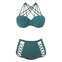 meinice Verde Strappy push-up vita alta Bikini (Shirley Ladies Tee)