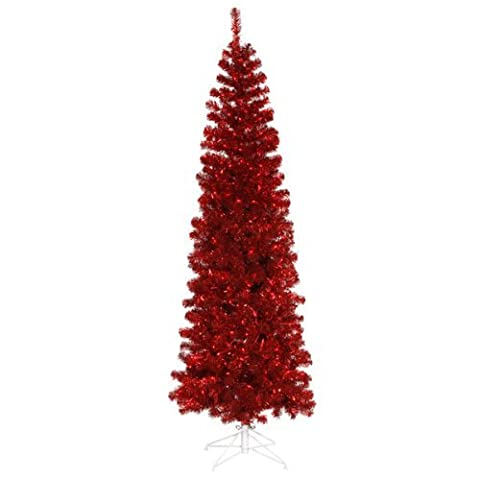 6.5' Pre-Lit Red Hot Tinsel Pencil Artificial Christmas Tree - Red Lights by Vickerman