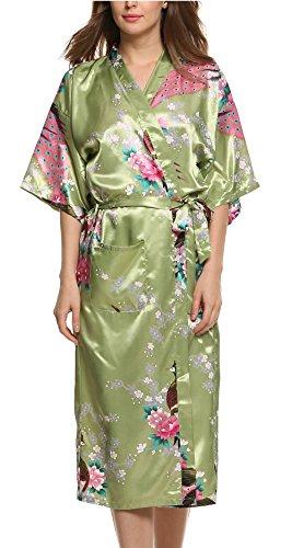 Avidlove Pijama Lencería Kimono Largo Pavo satén