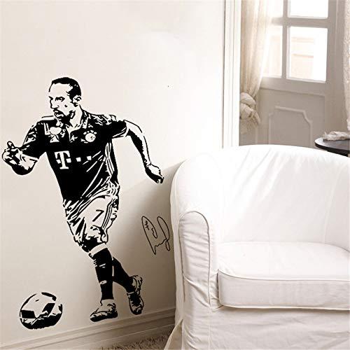 jiushizq Fußballstar Ball Shadow Wandaufkleber Studentenwohnheime Schlafzimmer Wanddekoration Poster Aufkleber Grau 90 x 58 cm