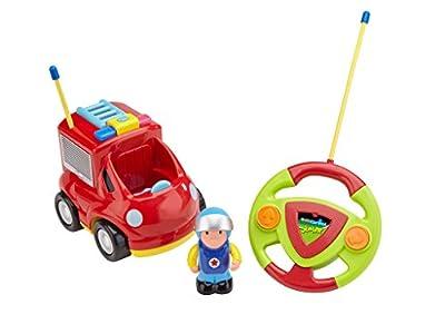 Revell Control 23010 - Junior RC Feuerwehr - Ferngesteuertes Fire Truck Auto mit 40 Mhz Fernsteuerung für Kinderhände, ab 2, Robust, einfach zu Bedienen, mit Spielfigur, Sound und LED-Blinklicht - von Revell