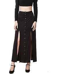 TEXCO Black Front Slit Skirt