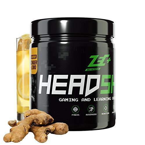 ZEC+ HEADSHOT Gaming Booster - 280 g Brain Booster Pulver, Gaming-Supplement als Koffein-Drink für Gamer, hochdosiertes Koffein aus Guarana-Extrakt, Made in Germany, Geschmack Ginger-Limonade