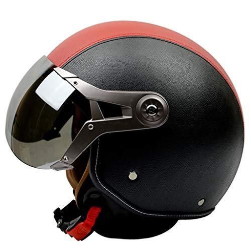 Motorradhelm Vier Jahreszeiten Männer Und Frauen Halbe Helm Retro Air Force Halbe Abdeckung Winter Warme Helm (Farbe : 02, größe : L) (Helm Air Force)