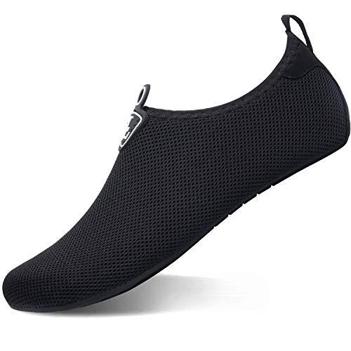 L-RUN Damen Wasserschuhe Herren Aqua Socken Leichtes Mesh_schwarz XXL (B: 9-9.5, M: 9-9.5)
