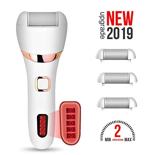 WaVes Electrica Pies,Removedor de callos eléctrico con pantalla LED de alimentación,Incluye 3 cabezas de rodillo y 1 cepillo de limpieza