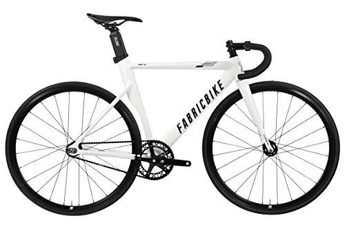 """FabricBike AERO - Fixed Gear Fahrrad, Single Speed Fixie Starre Nabe, Aluminium Rahmen und Carbon-Gabel, Räder 28"""", 5 Farben, 3 Größen, 7.95 kg (Größe M) (Glossy White & Black, M-54cm)"""