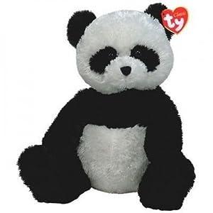 Ty 67026Fluff, Panda 33cm Attic Treasures, Negro, Color Blanco