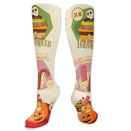 NFHRREEUR Knee High Socks Happy Halloween Party Set Compression Socks Sports Athletic Socks Tube Stockings Long Socks Funny Personalized Gift Socks for Women Teens Girls