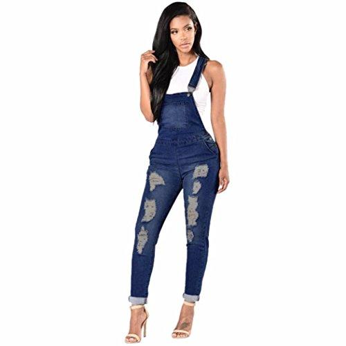 Damen Overall YunYoud Frau Denim Jumpsuit Mädchen Frühling Herbst Beiläufig Hose Mode Zerrissen Loch Jeans Elastizität Jeans hochschieben (XXL, Tiefes Blau) (Denim Cordhose)