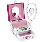 RPJC Kinder Musik - Glocke Schmuckkästchen - Box Speichern mit Schublade und Set für Schmuck mit Flamingo Thema - Wunderschön Träumer Tune Pink