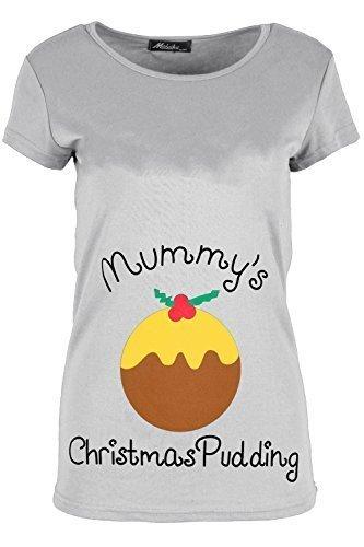 Damen Weihnachten T-shirt Damen Rentier An Wand Weihnachten Schneeflocken Trikot Flügelärmel Top Mummys Pudding Grau