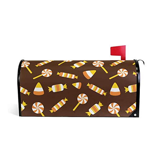 prz0vprz0v Halloween Candy Pattern Magnetic Mailbox Cover 21 x 18 Inches Waterproof Canvas Mailbox Cover (Candy Love Halloween My)