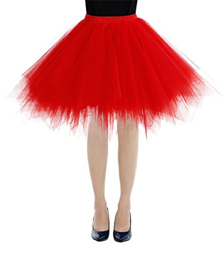 bbonlinedress Kurz Retro Petticoat Rock Ballett Blase 50er Tutu Unterrock Red ()