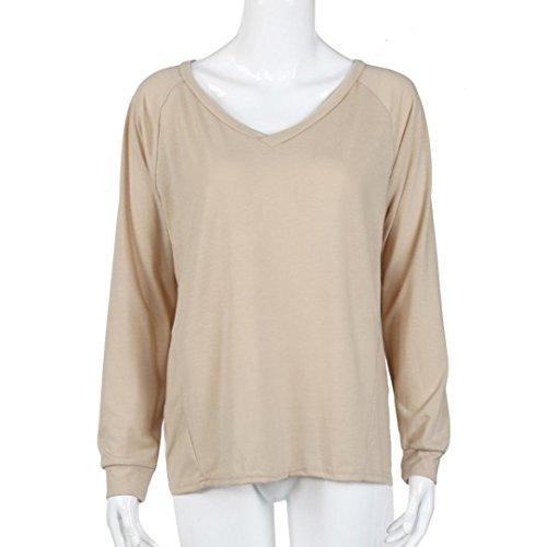 Femmes Sweat-shirt, Morwind Off Shoulder Couleur Unie Bodycon Slim Manches Longues Pull Capuche Sweat-shirt Chemisier Kaki