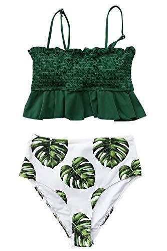 CUPSHE Smocked Grün und Monstera High Waist Bikini, Grün Weiß, M