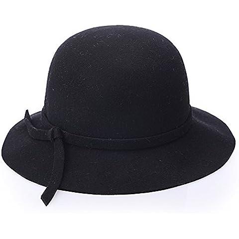 Domo de onda Hat sombreros señoras pura lana Boucle tela color sólido pescador sombrero sombrero sombreros de moda, negro