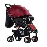 Kinderwagen Babywagen Sit Lie Light Fold Trolley Tragbarer Babywagen, 61x55x100cm (Farbe : Red)