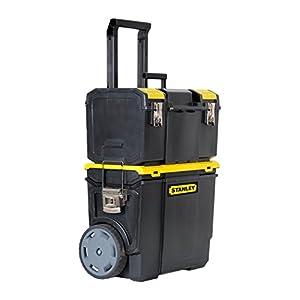 Stanley Mobile Werkzeugbox (48 x 57 x 29 cm, 2-in-1 Variante mit abnehmbarer Werkzeugbox, robuster Teleskopgriff, große…
