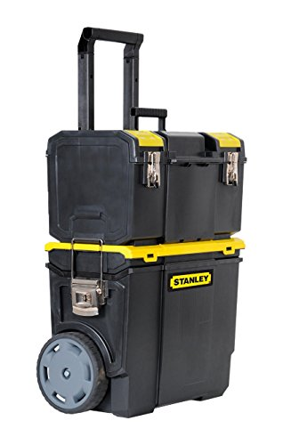 Stanley Mobile Werkzeugbox (48 x 57 x 29 cm, 2-in-1 Variante mit abnehmbarer Werkzeugbox, robuster Teleskopgriff, große 7 Zoll Räder) 1-70-327 (Schwarz-mobile-tool-box)