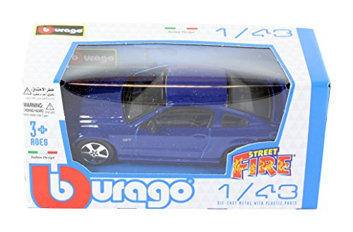 new-burago-1-43-diecast-model-car-ford-mustang-gt-coupe-in-blue-burago-street-fire-range
