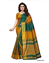 Fabwomen Sarees Zari Work MULTI COLOURED Kanjeevaram Silk Fashion Party Wear Women's Saree/Sari With Blouse Piece...