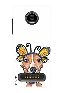 Noise Moto Z2 Play Back Cover For Printed Motorola Moto Z2 Play / Animated Cartoons / Dog And Butterfly - (GD-510)