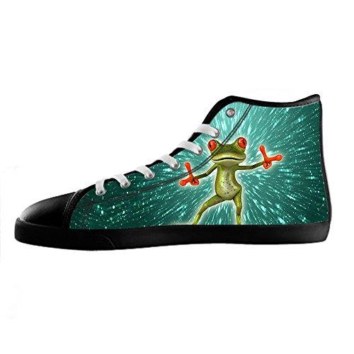 Personnalisé Drôle Grenouille Hommes Toile Chaussures Chaussures À Lacets Haut Haut Sneakers Voile Tissu Chaussures Toile Chaussures Sneakers D