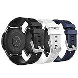 MoKo Pulsera para Samsung Galaxy Watch 46mm, Pulsera de Silicona, Banda de Reloj de Silicona para Galaxy Gear S3 Classic/Frontier/Moto 360 2nd Gen 46mm - Blanco & Negro & Azul Medianoche