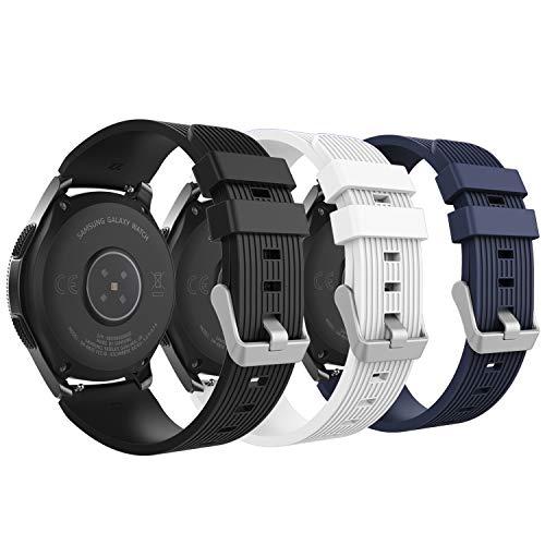 MoKo Armband für Samsung Galaxy Watch 46mm, Silikon Uhrenarmband Erstatzband mit Schließe für Samsung Galaxy Gear S3 Classic/Frontier/Moto 360 2nd Gen 46mm Watch - Schwarz & Weiß & Mitternachtsblau