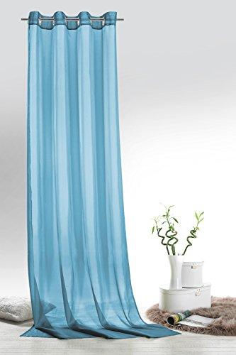 Fashion&Joy - 1 Paar Ösenschals Voile einfarbig Aqua blau transparent Vorhänge Typ418