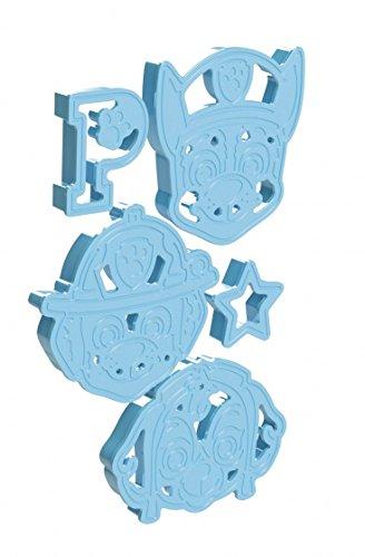 Paw Patrol Ausstechförmchen zum Backen und Gestalten, aus Kunststoff blau mit den Motiven Chase und Marshall, Stern und P - TM Essentials 720367