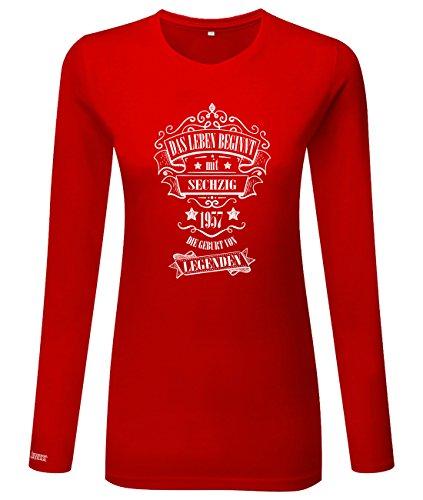 Das Leben beginnt mit 60 - 1957 - Geburt von Legenden - Damen Langarmshirt Rot