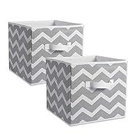 PetHot 2X Foldable Storage Box Collapsible Folding Canvas Drawers Fabric Cube Cloth Bag Stripe Grey
