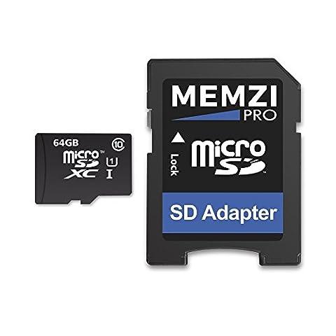 Memzi Pro 90MB/s 64GB Class 10Micro SDXC Speicherkarte mit SD Adapter für Samsung Galaxy Tab 3oder TAB 410.1, 8.0, 7.0Tablet PC 's