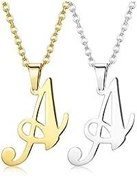 79236e50fe09 Finrezio 2 Piezas De Collar Acero Inoxidable Alfabeto Letras Iniciales para  Mujeres Hombres Colgante De A-Z