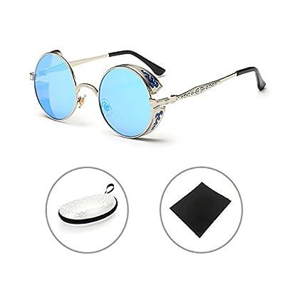 Gafas de sol Retro Steampunk Metal Vintage Gótico lente azul, modasteampunk, steampunk, gafas goticas