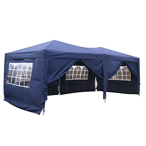 Homdox tenda gazebo padiglione pieghevoli impermeabile 3m * 6m con pannelli laterali finestra, eventi, matrimonio in giardino in acciaio rivestito a polvere azzurro