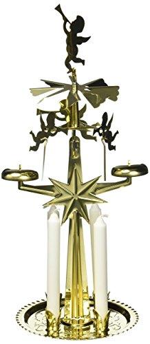 Unbekannt Sigro Original Schwedische Design Messing Engel Glocken Pyramide mit Vier Kerzen, Gold