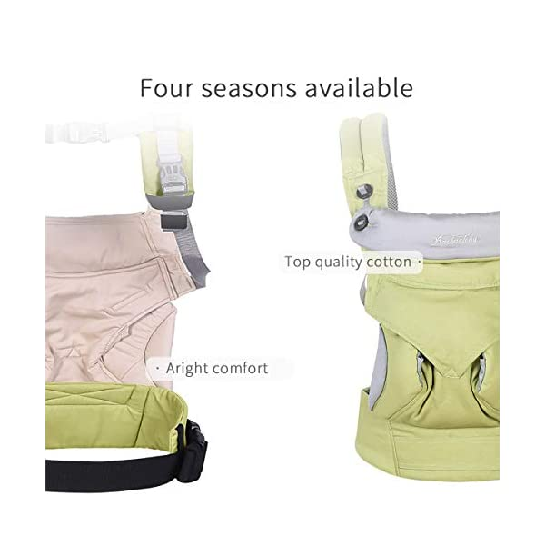 SONARIN 4-in-1 Convertible Baby Carrier,Sunscreen Hood,Ergonomic,for Newborn to Toddler(3-48 Months),Maximum Load 20kg,Front Facing Baby Carrier,Child Carrier Backpack(Green) SONARIN Applicable age and Weight:3-48months of baby, the maximum load:20KG, and adjustable the waist size can be up to 47.2 inches (about 120 cm). Material:designers carefully selected soft and delicate 100% Cotton fabric.Soft machine wash,do not fade,ensure the comfort and breathability,high strength,safe and no deformation,to the baby comfortable and safe experience. Description:Patented design of the auxiliary spine micro-C structure and leg opening design,natural M-type sitting.Adjustable back panel that grows with baby and offers head and neck support with sleeping hood that provides UV50+ sun protection. 3