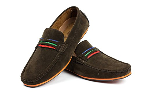 uomo DRIVING Slip On Scarpe casual barca Deck Mocassini ITALIANA mocassini Caffè
