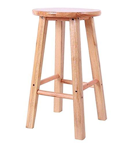 WUDENG Escabeau en bois massif rond siège solide couleur naturelle 30x30x50cm (Couleur : Natural wood color)