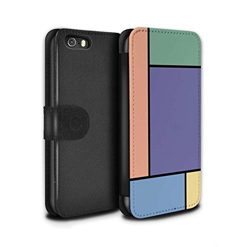 Stuff4 Coque/Etui/Housse Cuir PU Case/Cover pour Apple iPhone 5/5S / 5 Carreaux/Rouge Design / Carreaux Pastel Collection 5 Carreaux/Purple