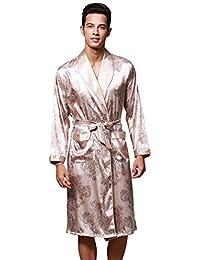 3a71e87e01a138 WanYangg Herren Drucken Morgenmantel Bademantel Robe Lang Satin Nachtwäsche  Kimono Sleepwear V Ausschnitt Mit Gürtel Pyjama