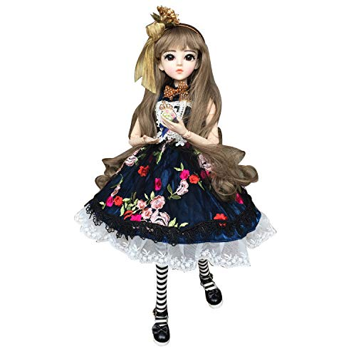 Daisy Dark Blue Dress 1/3 SD Doll BJD Dolls Full Set 60cm 24inch jointed dolls Toy Action Figure + Makeup + Accessory